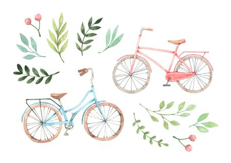 Hand drawn watercolor illustration - Romantic bike with floral elements. City bicycle. Amsterdam. Perfect for invitations, greeting cards, posters, prints Banco de Imagens
