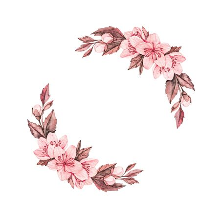 Spring watercolor illustration. Sakura bloom. Cherry. Botanical wreath with pink flowers and leaves. Floral blossom elements. Perfect for wedding invitations, cards, prints, posters, packing Banco de Imagens