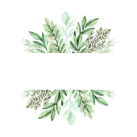 Spring watercolor illustration. Botanical frame with eucalyptus, fir branches and leaves. Greenery. Floral Design elements. Perfect for wedding invitations, cards, prints, posters, packing Banco de Imagens