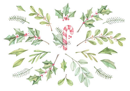 Christmas card with eucalyptus, fir branch, candy  and holly - Watercolor illustration. Happy new year. Winter greenery design elements. Perfect for cards, invitations, banners, posters etc