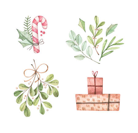 Christmas illustrations with eucalyptus, fir branch, candy, mistletoe and gift boxes - Watercolor illustration. Happy new year. Winter design elements. Perfect for cards, invitations, banners, posters