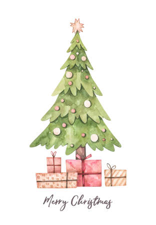 Christmas illustration with christmas tree and gift boxes  - Watercolor illustration. Happy new year. Winter design elements. Perfect for cards, invitations, banners, posters