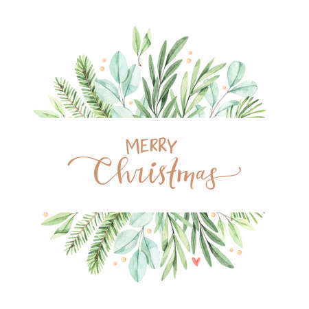 Christmas frame with eucalyptus, fir branch and holly - Watercolor illustration. Happy new year. Winter background with greenery elements. Perfect for cards, invitations, banners, posters etc Foto de archivo
