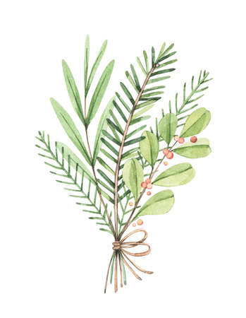Christmas bouquet with eucalyptus, fir branch and holly - Watercolor illustration. Happy new year. Winter greenery composition. Perfect for cards, invitations, banners, posters etc