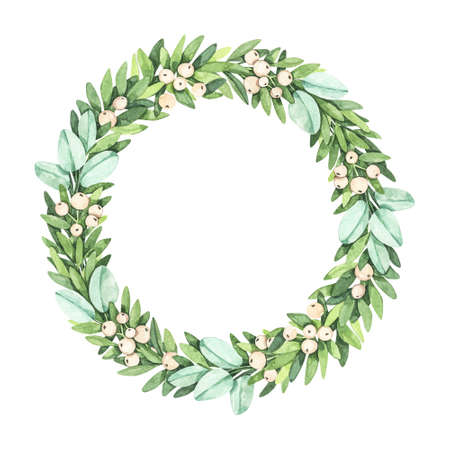 Laurel wreath with greenery branches, mistletoe, eucalyptus - Watercolor illustration. Happy new year and merry christmas. Winter composition. Perfect for cards, wedding invitations, banners, posters Banco de Imagens