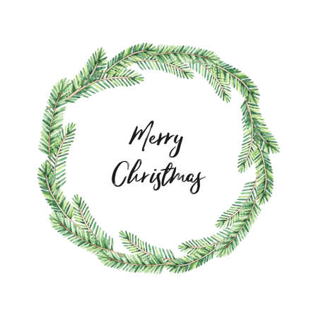 Laurel wreath with greenery fir-tree branches  - Watercolor illustration. Happy new year and merry christmas. Winter composition with spruce. Perfect for cards, wedding invitations, banners, posters