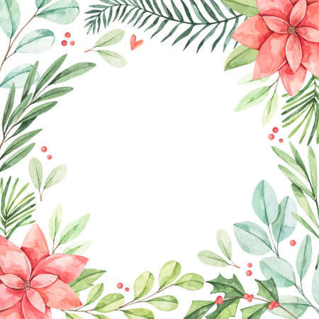 Winter frame with greenery fir-tree branches, eucalyptus, pointsettia, holly  - Watercolor illustration. Happy new year and merry christmas. Perfect for cards, wedding invitations, banners, posters