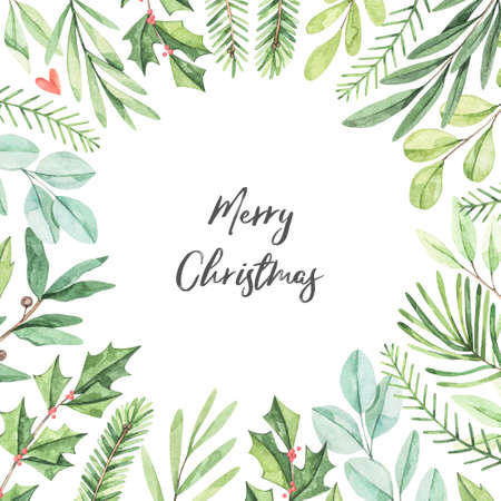 Winter frame with greenery fir-tree branches, eucalyptus, holly  - Watercolor illustration. Happy new year and merry christmas. Perfect for cards, wedding invitations, banners, posters Banco de Imagens