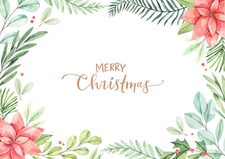 Christmas frame with eucalyptus, fir branch, poinsettia and holly - Watercolor illustration. Happy new year. Winter background with greenery elements. Perfect for cards, invitations, banners, posters