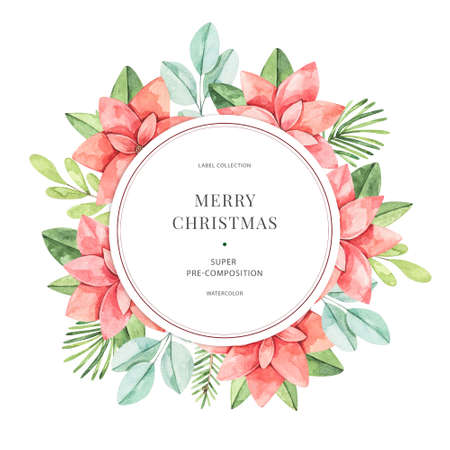 Winter watercolor label with greenery branches, eucalyptus and poinsettia. Happy new year and Merry christmas card. Perfect for greeting cards, wedding invitations, banners, posters Banco de Imagens