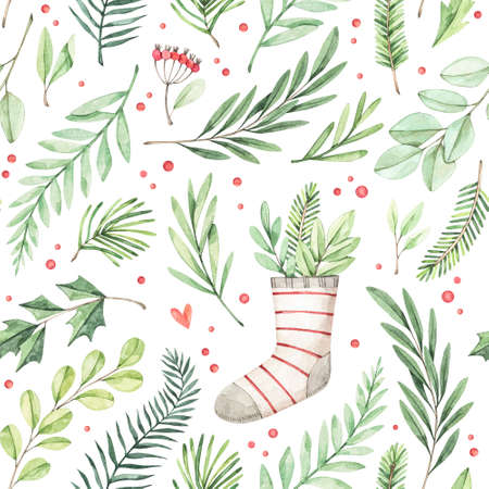 Watercolor Christmas Seamless pattern with foliage. Winter background with red berries, botanical green branches, christmas socks. Perfect for wrapping paper, fabric, textile, wedding invitations, packing.