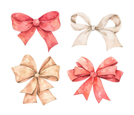 Different types of bows (golden, red, ivory). Watercolor illustration. Perfect for invitations, greeting cards, posters, prints. Illustration in sketch style.
