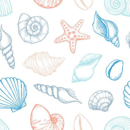 Hand drawn vector illustrations - seamless pattern of seashells. Marine background. Collection of shells and starfishs. Perfect for fabric, textile, linens, invitations, posters, prints, banners Vetores