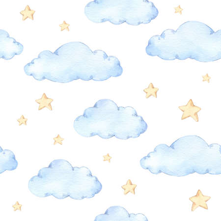 Watercolor seamless pattern - clouds and stars. Starry sky background. Ideal for a children room. Good night print. Baby shower. Perfect for prints, greeting cards, fabric, textile, wrapping paper