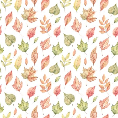 Hand drawn watercolor seamless pattern of fall orange, red and green leaves. Forest background. Hello Autumn! Perfect for seasonal advertisement, invitations, cards, fabric, wrapping paper, textile Banco de Imagens - 150059224