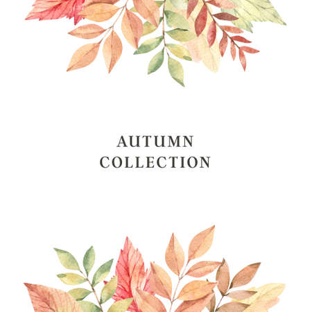 Hand drawn watercolor illustration. Frame with fall branches, maple leaves, orange and green foliage. Forest design elements. Autumn collection. Perfect for seasonal advertisement, invitations, cards Stock Photo