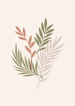 Abstract vector poster with greenery, branches and leaves. Contemporary art. Botanical artwork in modern style in warm colors. Summer vibes. Perfect for print, poster, social media, cards