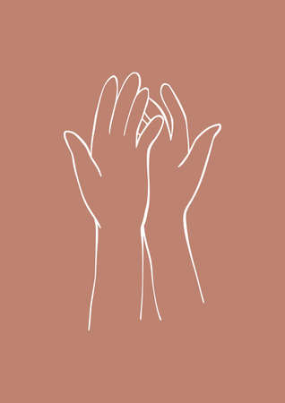 Abstract linear hands - vector poster. Contemporary art in terracotta colors. Hand in modern style. Part of the body. Line drawing. Vettoriali