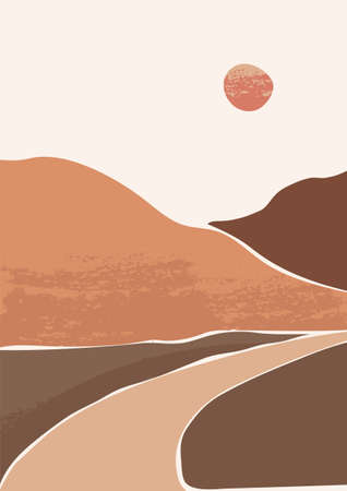 Abstract vector illustration of landscape with textures. Contemporary art. Mountains in modern style. Outdoor background. Perfect for print, poster, social media, cards