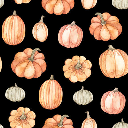 Watercolor seamless pattern - Autumn harvest. Pumpkin farm background. Perfect for seasonal advertisement, fabric, wrapping paper, textile