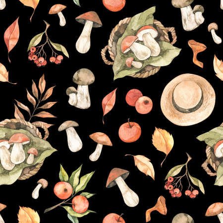 Watercolor seamless pattern - Autumn harvest. Fall leaves, apple mushrooms, berries. Forest background. Perfect for seasonal advertisement, fabric, wrapping paper, textile Banco de Imagens