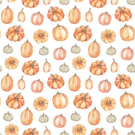 Watercolor seamless pattern - Autumn harvest. Pumpkin farm background. Perfect for seasonal advertisement, fabric, wrapping paper, textile. Banco de Imagens