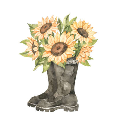 Watercolor Autumn harvest illustration with sunflowers bouquet. Fall flowers in black boots. Botanical garden. Perfect for invitations, greeting posters, prints, social media