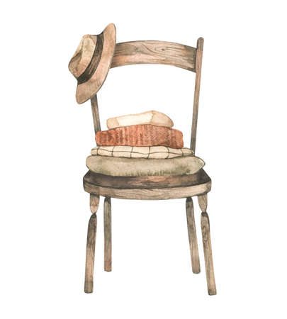 Warm fall days. Watercolor Autumn cozy illustration with chair and hat, pumpkin and stack of sweaters. Hygge home. Perfect for invitations, greeting posters, prints, social media
