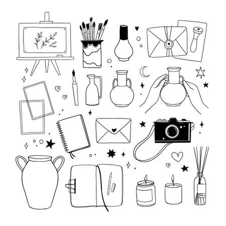 Hand drawn vector linear illustration - Set of art supples: notebook, brushes, camera, canvas, easel. Work from home. Artist office. Perfect for your brand , branding, stickers, pictures.