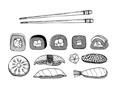 Hand drawn vector illustration. Asian food. Different types of sushi, rolls, sashimi with shrimp, salmon and vegetables. Chinese chopsticks. Perfect for menu and flyers for cafes, restaurants