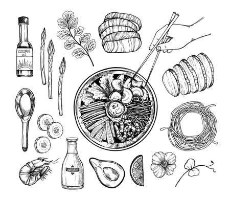 Hand drawn vector illustration. Asian food. Noodles and different vegetables, pork, salmon, coconut oil, herbs. Hand with chinese chopsticks. Perfect for menu and flyers for cafes, restaurants.