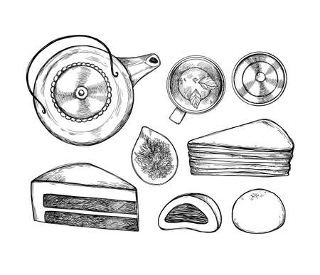 Hand drawn vector illustration. Asian routine. Traditional tea with teapot, tea cups, gaiwan, tea. top view. Matcha cakes. Perfect for menu and flyers for cafes, restaurants
