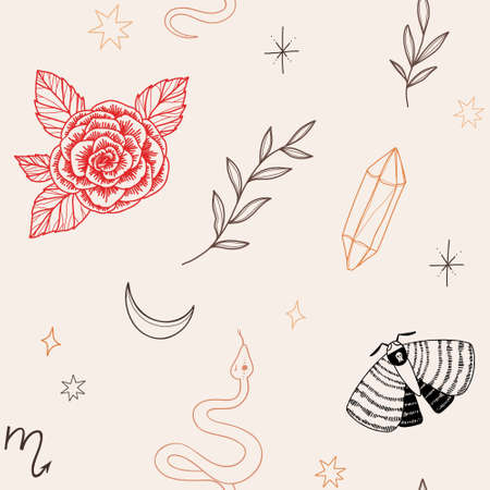 Modern hand drawn vector seamless pattern of moon, snake, flowers and floral leaves, magic elements. Abstract line drawing, moth, crystal, tattoo background. Trendy space signs of floral motifs. Ilustração