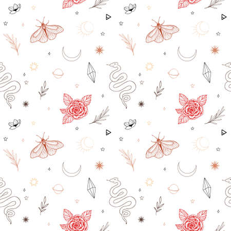 Modern hand drawn vector seamless pattern of moon, snake, flowers and floral leaves, magic elements. Abstract line drawing, moth, crystal, tattoo background. Trendy space signs of floral motifs