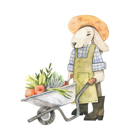 Watercolor cute bunny gardener with wheel barrow and vegetables. Spring Summer. Baby character. Children room decor. Perfect for invitations, greeting cards, packing, Baby shower.