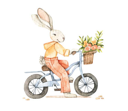 Watercolor cute bunny on bicycle with flowers. Spring summer. Baby character. Perfect for invitations, greeting cards, packing, prints, Baby shower. Banco de Imagens