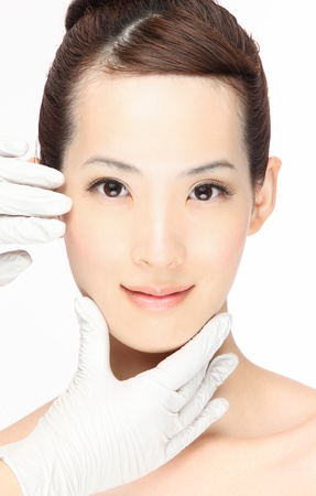 cosmetic surgery: Close-up portrait of young asian woman