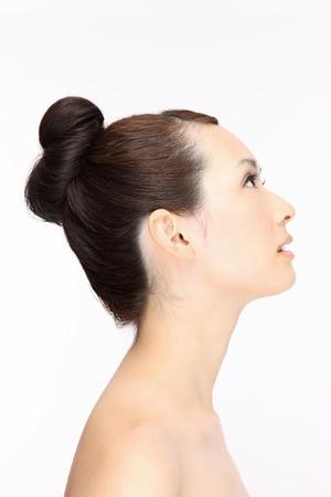 アジアの美しい若い女性の髪スタイル ・ プロファイル