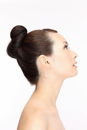 Beautiful Young Asian woman hair style profile
