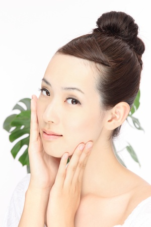 若いアジアの女性のクローズ アップの肖像画 写真素材