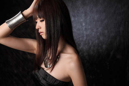 asian sexy girl: Young Asian model black background