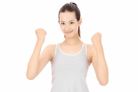 hold up: Beautiful Young asian woman hold up fists Stock Photo