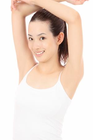 depilacion: Hermosas mujeres asi�ticas j�venes levanten la mano