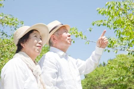 Unter Hinweis auf ein �lteres Ehepaar Lizenzfreie Bilder