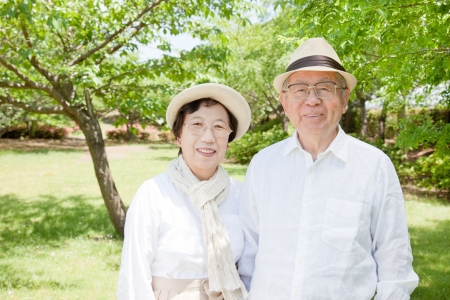 The old couple smiling Asian park photo