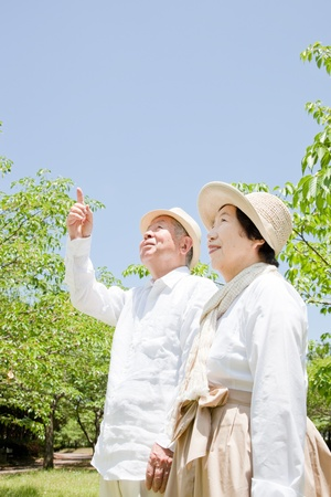Pointing to an elderly couple Stock Photo - 11700327