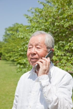 Call the elderly in Asia photo