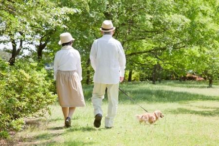 ancianos felices: Posterior pareja de ancianos asi�ticos tomar una ca�a