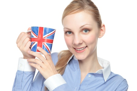 Young Caucasian woman with a cup of England photo