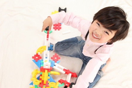 baby play: Asian boys play with toys